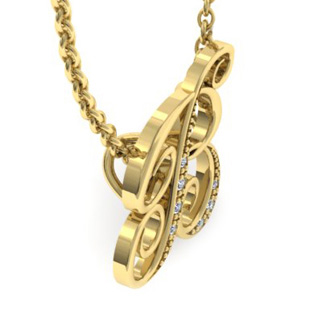 Yellow Gold Serif B Initial Necklace With 7 Diamonds
