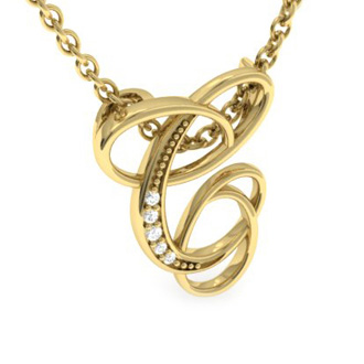 Yellow Gold Serif C Initial Necklace With 5 Diamonds