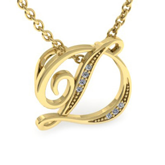 Yellow Gold Serif D Initial Necklace With 7 Diamonds