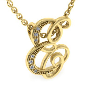 Yellow Gold Serif E Initial Necklace With 7 Diamonds