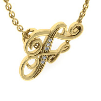 Yellow Gold Serif F Initial Necklace With 5 Diamonds