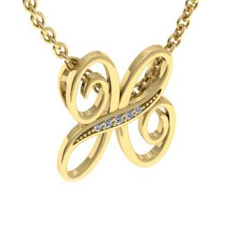 Yellow Gold Serif H Initial Necklace With 5 Diamonds