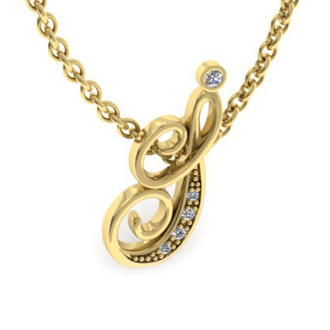 Yellow Gold Serif I Initial Necklace With 5 Diamonds