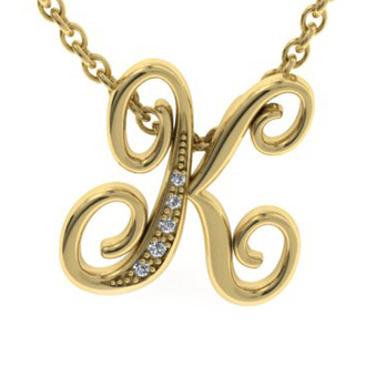 Yellow Gold Serif K Initial Necklace With 5 Diamonds