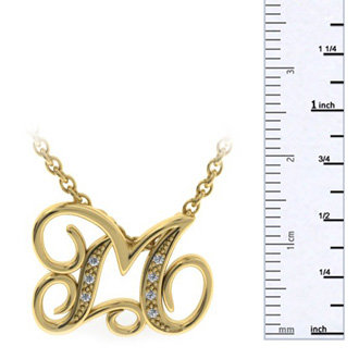 Yellow Gold Serif M Initial Necklace With 7 Diamonds