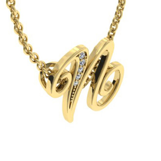 Yellow Gold Serif N Initial Necklace With 5 Diamonds