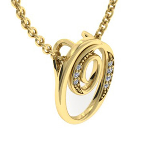 Yellow Gold Serif O Initial Necklace With 7 Diamonds
