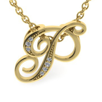 Yellow Gold Serif P Initial Necklace With 7 Diamonds