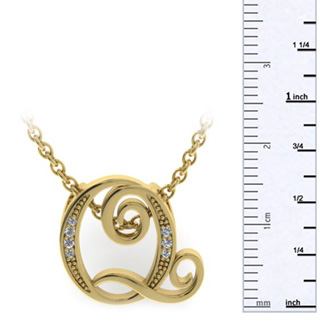 Yellow Gold Serif Q Initial Necklace With 7 Diamonds