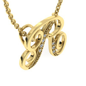 Yellow Gold Serif R Initial Necklace With 7 Diamonds