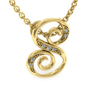 Yellow Gold Serif S Initial Necklace With 7 Diamonds