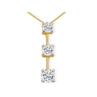 Impressive 1 1/2ct Three Diamond Pendant in 14k Yellow Gold