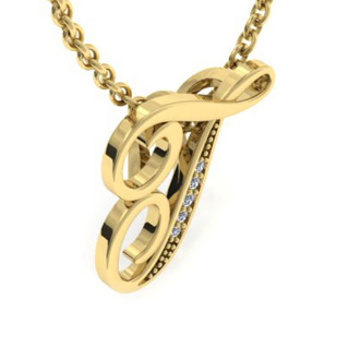 Yellow Gold Serif T Initial Necklace With 5 Diamonds