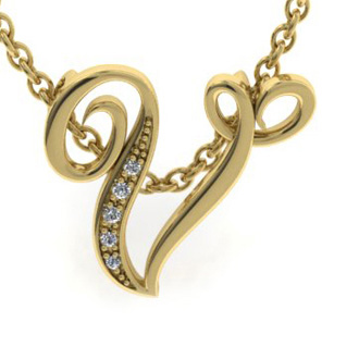 Yellow Gold Serif V Initial Necklace With 5 Diamonds