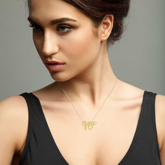 Yellow Gold Serif W Initial Necklace With 7 Diamonds