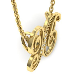 Yellow Gold Serif X Initial Necklace With 7 Diamonds