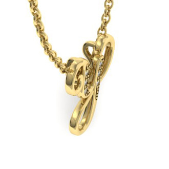 Yellow Gold Serif Y Initial Necklace With 6 Diamonds