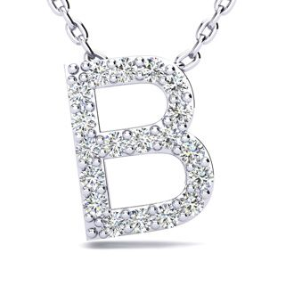 B Initial Necklace In White Gold With 19 Diamonds