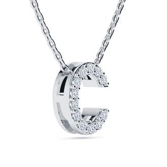 C Initial Necklace In White Gold With 12 Diamonds