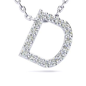 D Initial Necklace In White Gold With 17 Diamonds