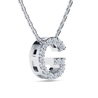 G Initial Necklace In White Gold With 15 Diamonds