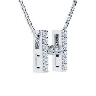 H Initial Necklace In White Gold With 15 Diamonds