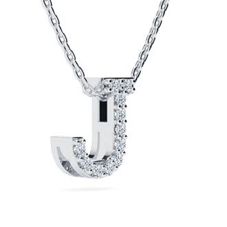 J Initial Necklace In White Gold With 11 Diamonds