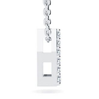 L Initial Necklace In White Gold With 9 Diamonds