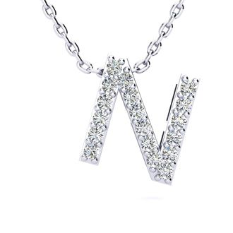 N Initial Necklace In White Gold With 18 Diamonds