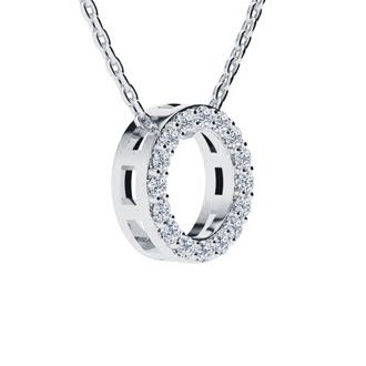 O Initial Necklace In White Gold With 16 Diamonds