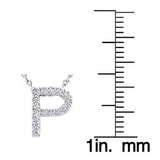 P Initial Necklace In White Gold With 15 Diamonds