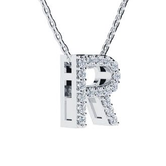 R Initial Necklace In White Gold With 18 Diamonds