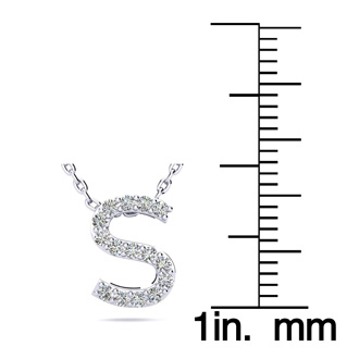 S Initial Necklace In White Gold With 15 Diamonds