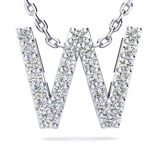 W Initial Necklace In White Gold With 25 Diamonds