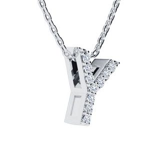 Y Initial Necklace In White Gold With 10 Diamonds