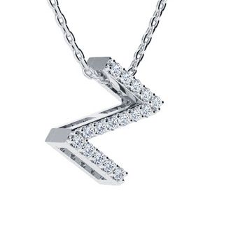 Z Initial Necklace In White Gold With 16 Diamonds