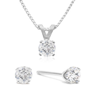Raised Nearly 1 3 Carat Diamond Studs And Necklace Set In Solid 925 Silver