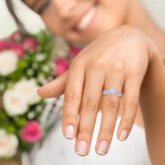 1.50 Carat Classic Prong Set Bridal Set In 14K White Gold