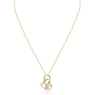 14K Yellow Gold Over Sterling Silver Double Floating Heart Necklace With CZ Accents