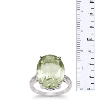 10 1/2ct Oval Green Amethyst and Diamond Ring