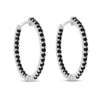 2ct Endless Black Diamond Hoop Earrings Crafted In Solid 14 Karat White Gold - Duplicate of Item 11702 in Black Diamond Instead of White