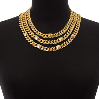 Triple Strand Gold Tone Necklace