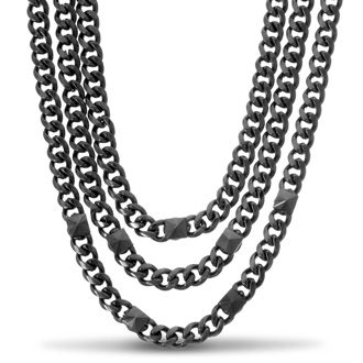 Triple Strand Gunmetal Necklace