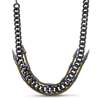 Gunmetal Spike and Leather Necklace