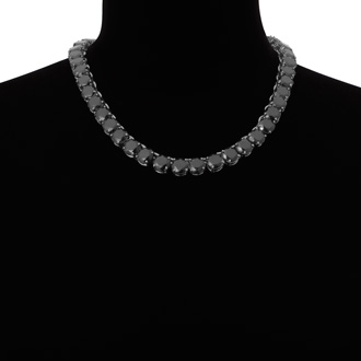Fine Black Crystal Line Necklace, 18 Inches