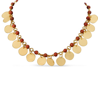 Tiger Eye and Gold Disc Necklace