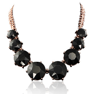 Fine Black Crystal Circle Strand Necklace, 16 Inches