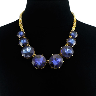 Fine Blue Crystal Circle Strand Necklace, 16 Inches