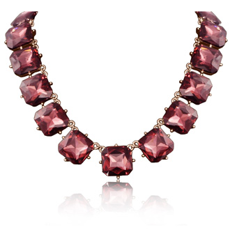 Fine Pink Crystal Cushion Strand Necklace, 18 Inches