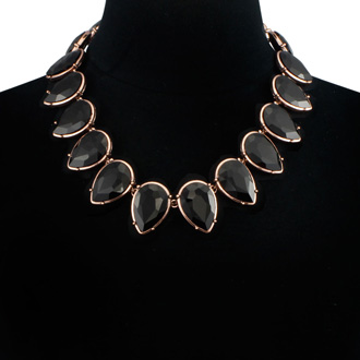 Fine Black Crystal Pear Strand Necklace, 18 Inches
